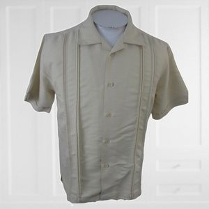 Cubavera Panel shirt retro sz M off-white Latin